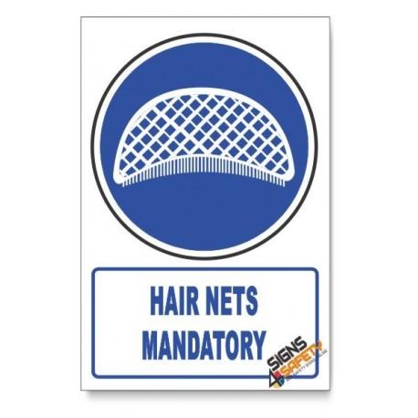 (MV26/D1) Hair Nets Mandatory, Descriptive Safety Sign