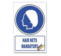 (MV26A/D1) Hair Nets Mandatory, Descriptive Safety Sign