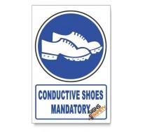 (MV27/D1) Conductive Shoes Mandatory, Descriptive Safety Sign