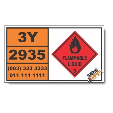 UN2935 Ethyl 2-chloropropionate, Flammable Liquid (3), Hazchem Placard