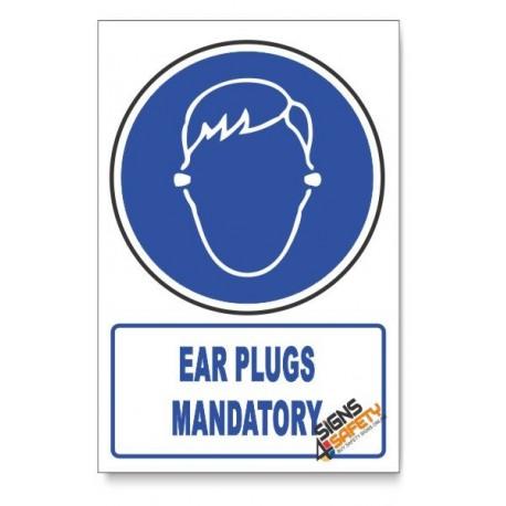 (MV28/D1) Ear Plugs Mandatory, Descriptive Safety Sign