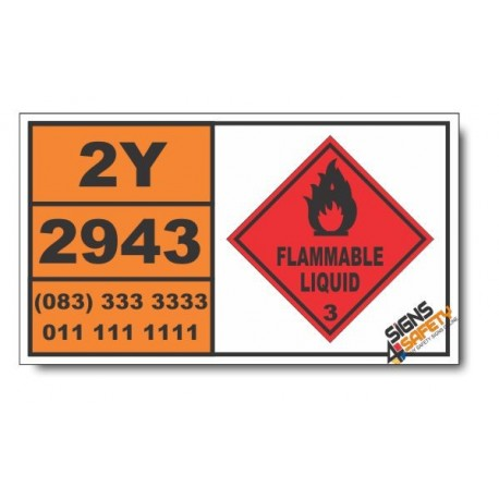 UN2943 Tetrahydrofurfurylamine, Flammable Liquid (3), Hazchem Placard