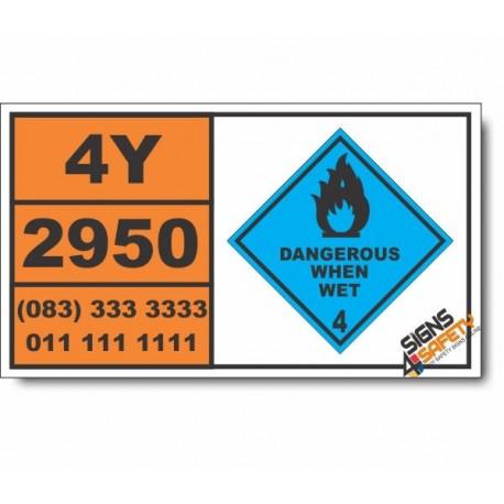 UN2950 Magnesium granules, coated, particle size not less than 149 microns, Dangerous When Wet (4), Hazchem Placard