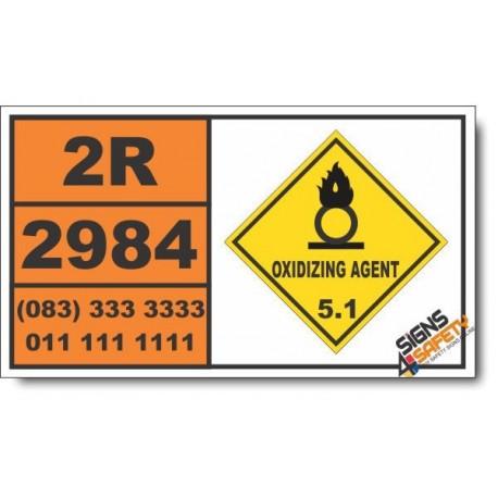UN2984 Hydrogen peroxide, aqueous solutions, Oxidizing Agent (5), Hazchem Placard