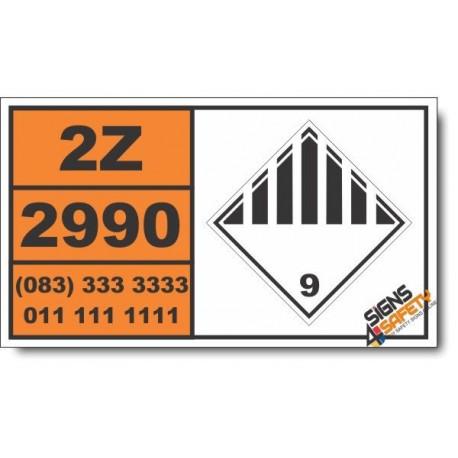 UN2990 Life-saving appliances, self inflating, Other (9), Hazchem Placard
