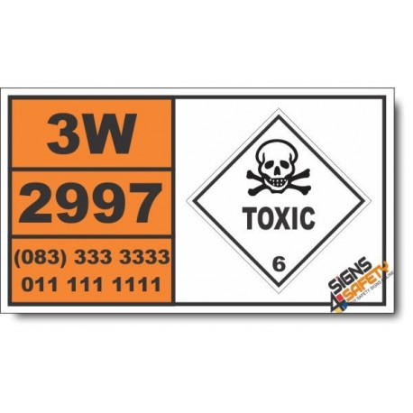 UN2997 Triazine pesticides, liquid, toxic, flammable, flash point not less than 23 degrees C, Toxic (6), Hazchem Placard