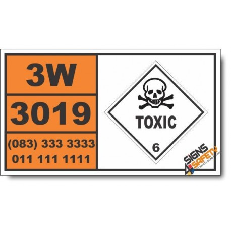 UN3019 Organotin pesticides, liquid, toxic, flammable, flash point not less than 23 degrees C, Toxic (6), Hazchem Placard