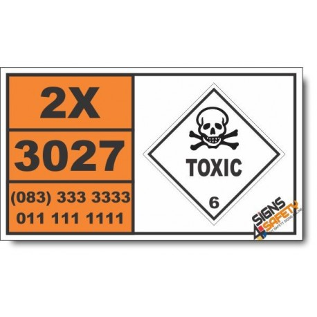 UN3027 Coumarin derivative pesticides, solid, Toxic (6), Hazchem Placard