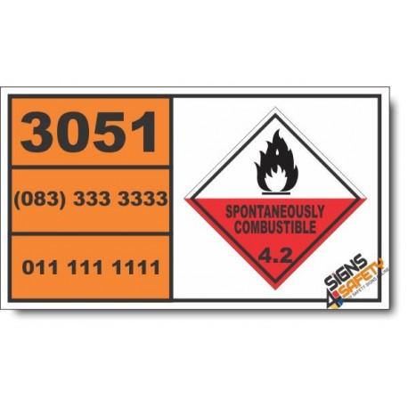 UN3051 Aluminum alkyls, Spontaneously Combustible (4), Hazchem Placard