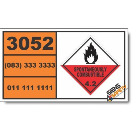 UN3052 Aluminum alkyl halides, liquid, Spontaneously Combustible (4), Hazchem Placard