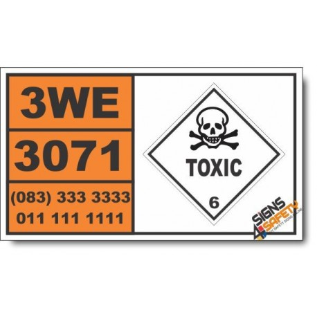 UN3071 Mercaptans, liquid, toxic, flammable, n.o.s. or Mercaptan mixtures, liquid, flammable, n.o.s., Toxic (6), Hazchem Placard