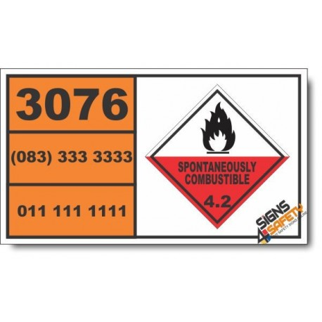 UN3076 Aluminum alkyl hydrides, Spontaneously Combustible (4), Hazchem Placard