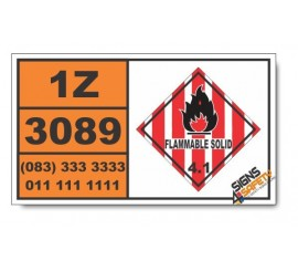 UN3089 Metal powders, flammable, n.o.s., Flammable Solid (4), Hazchem Placard