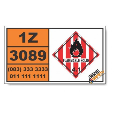 UN3089 Metal powders, flammable, n.o.s., Flammable Solid (4), Hazchem Placard