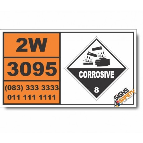 UN3095 Corrosive solids, self-heating, n.o.s., Corrosive (8), Hazchem Placard