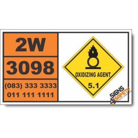 UN3098 Oxidizing liquid, corrosive, n.o.s., Oxidizing Agent (5), Hazchem Placard