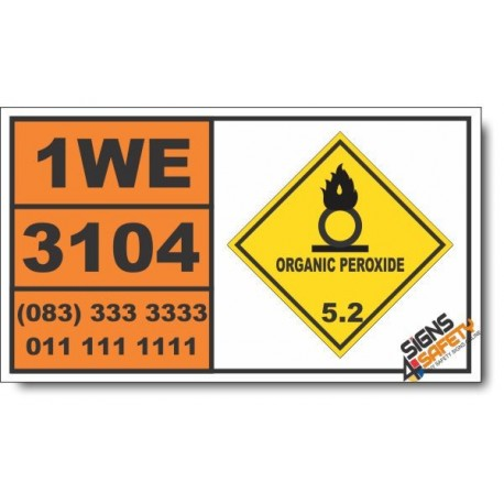 UN3104 Organic peroxide type C, solid, Organic Peroxide (5), Hazchem Placard