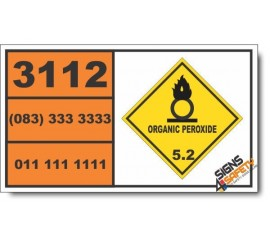 UN3112 Organic peroxide type B, solid, temperature controlled, Organic Peroxide (5), Hazchem Placard