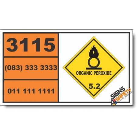 UN3115 Organic peroxide type D, liquid, temperature controlled, Organic Peroxide (5), Hazchem Placard
