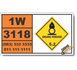 UN3118 Organic peroxide type E, solid, temperature controlled, Organic Peroxide (5), Hazchem Placard
