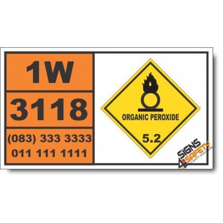 UN3118 Organic peroxide type E, solid, temperature controlled, Organic Peroxide (5), Hazchem Placard