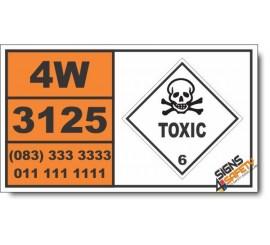 UN3125 Toxic solids, water-reactive, n.o.s., Toxic (6), Hazchem Placard