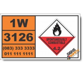 UN3126 Self-heating, solid, corrosive, organic, n.o.s., Spontaneously Combustible (4), Hazchem Placard