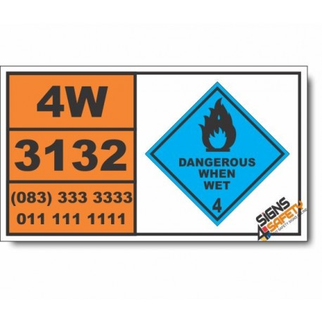 UN3132 Water-reactive solid, flammable, n.o.s., Dangerous When Wet (4), Hazchem Placard