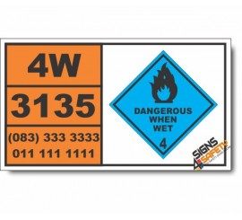UN3135	Water-reactive solid, self-heating, n.o.s., Dangerous When Wet (4), Hazchem Placard