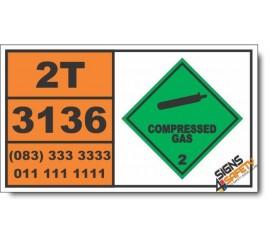 UN3136Trifluoromethane, refrigerated liquid, Compressed Gas (2), Hazchem Placard