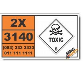 UN3140 Alkaloids, liquid, n.o.s., or Alkaloid salts, liquid, n.o.s., Toxic (6), Hazchem Placard