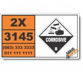 UN3145 Alkylphenols, liquid, n.o.s. (including C2-C12 homologues), Corrosive (8), Hazchem Placard
