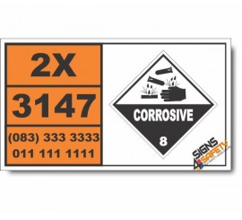 UN3147 Dyes, solid, corrosive, n.o.s. or Dye intermediates, solid, corrosive, n.o.s., Corrosive (8), Hazchem Placard