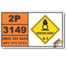 UN3149 Hydrogen peroxide and peroxyacetic acid mixtures, stabilized with acids, Oxidizing Agent (5), Hazchem Placard