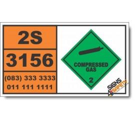 UN3156 Compressed gas, oxidizing, n.o.s., Compressed Gas (2), Hazchem Placard
