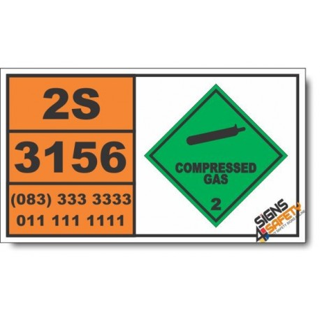 UN3156 Compressed gas, oxidizing, n.o.s., Compressed Gas (2), Hazchem Placard