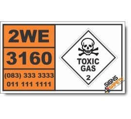 UN3160 Liquefied gas, toxic, flammable, n.o.s. Inhalation Hazard Zone A, Toxic Gas (2), Hazchem Placard