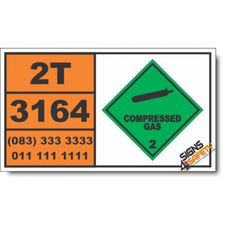 UN3164 Articles, pressurized pneumatic or hydraulic containing non-flammable gas, Compressed Gas (2), Hazchem Placard