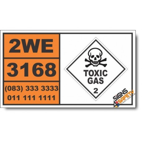 UN3168 Gas sample, non-pressurized, toxic, flammable, n.o.s., not refrigerated liquid, Toxic Gas (2), Hazchem Placard