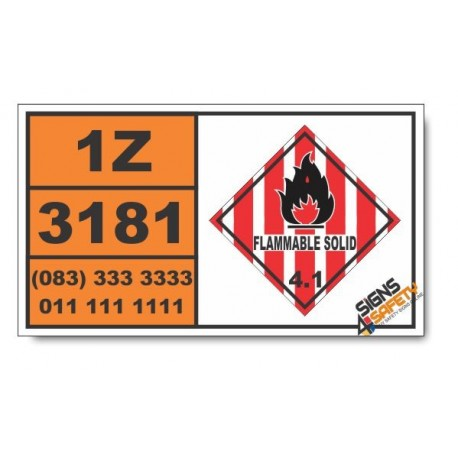UN3181 Metal salts of organic compounds, flammable, n.o.s., Flammable Solid (4), Hazchem Placard
