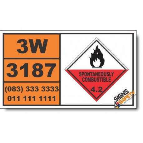 UN3187 Self-heating liquid, toxic, inorganic, n.o.s., Spontaneously Combustible (4), Hazchem Placard