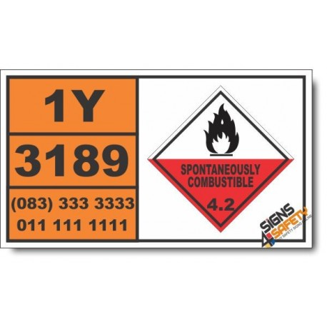 UN3189 Metal powder, self-heating, n.o.s., Spontaneously Combustible (4), Hazchem Placard