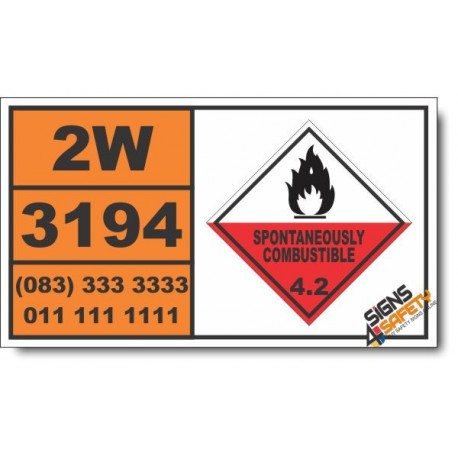 UN3194 Pyrophoric liquid, inorganic, n.o.s., Spontaneously Combustible (4), Hazchem Placard
