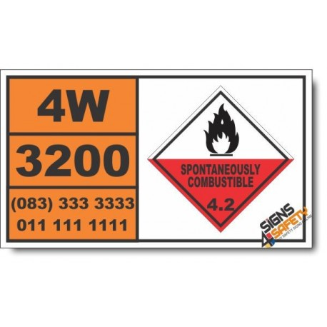 UN3200 Pyrophoric solid, inorganic, n.o.s., Spontaneously Combustible (4), Hazchem Placard