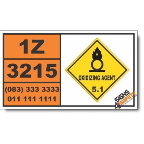 UN3215 Persulfates, inorganic, n.o.s., Oxidizing Agent (5), Hazchem Placard
