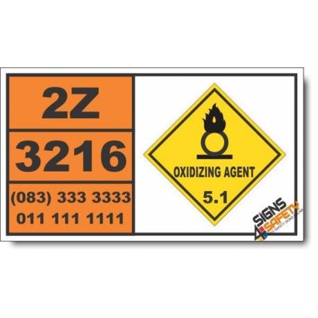 UN3216 Persulfates, inorganic, aqueous solution, n.o.s., Oxidizing Agent (5), Hazchem Placard