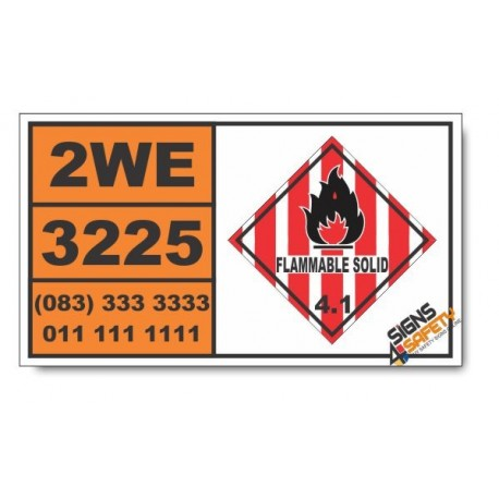 UN3225 Self-reactive liquid type D, Flammable Solid (4), Hazchem Placard