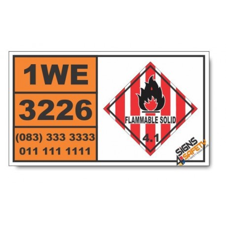 UN3226 Self-reactive solid type D, Flammable Solid (4), Hazchem Placard