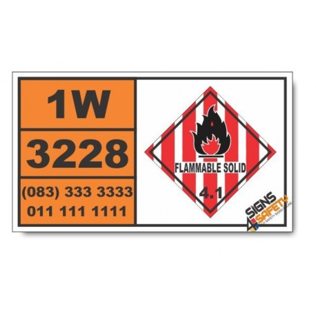 UN3228 Self-reactive solid type E, Flammable Solid (4), Hazchem Placard