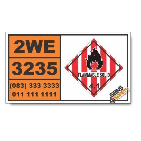 UN3235 Self-reactive liquid type D, temperature controlled, Flammable Solid (4), Hazchem Placard